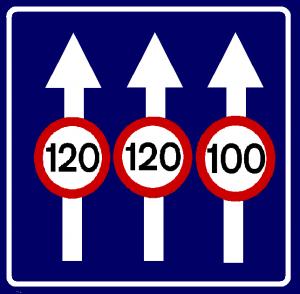 تابلو های راهنمایی و رانندگی حداکثر سرعت در خطهای عبور