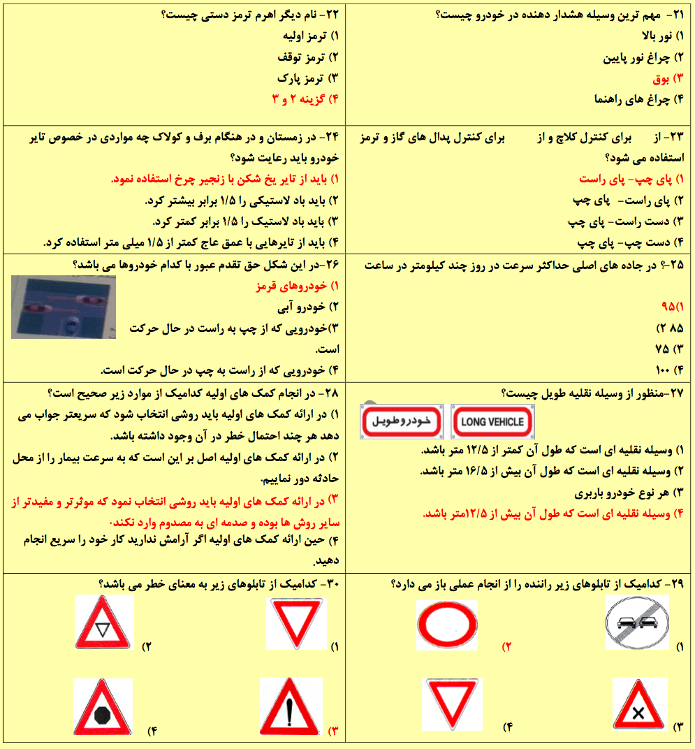 نمونه سوالات گواهینامه رانندگی